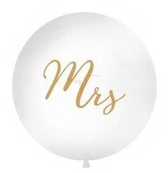 Balon 1m - Mrs - biały - złoty napis