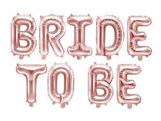 Balon foliowy Bride to be - 340 x 35 cm - różowe złoto
