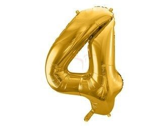 """Balon foliowy Cyfra """"4"""" cztery - 86 cm - złoty"""