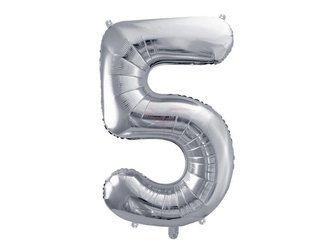 """Balon foliowy Cyfra """"5"""" pięć - 86 cm - srebrny"""