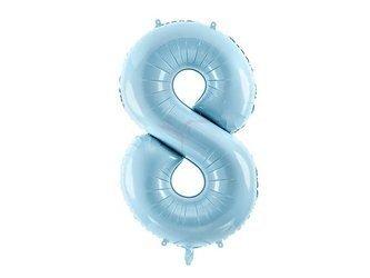 """Balon foliowy Cyfra """"8"""" osiem - 86 cm - jasny niebieski"""