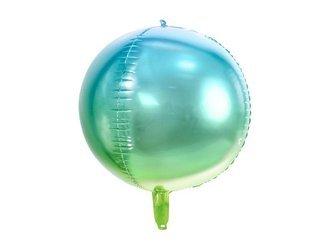 Balon foliowy Kula ombre - 35 cm - niebiesko-zielony