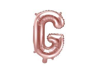 """Balon foliowy Litera """"G"""" - 35 cm - różowe złoto"""