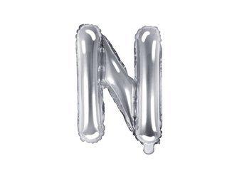"Balon foliowy Litera ""N"" - 35 cm - srebrny"