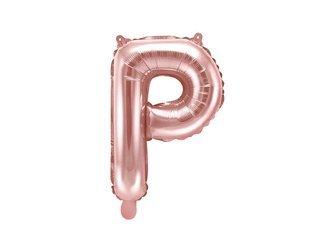 """Balon foliowy Litera """"P"""" - 35 cm - różowe złoto"""