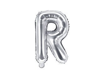 "Balon foliowy Litera ""R"" - 35 cm - srebrny"