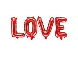 Balon foliowy Love -140x35 cm - czerwony