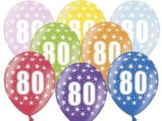 Balony 30 cm - 80th Birthday - 80 urodziny - Metallic Mix - 50 szt.
