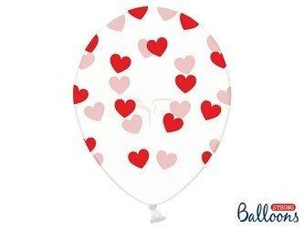 Balony 30 cm - Czerwone Serduszka - Crystal Clear - 50 szt.