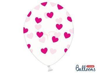 Balony 30 cm - Różowe Serduszka - Crystal Clear - 50 szt.