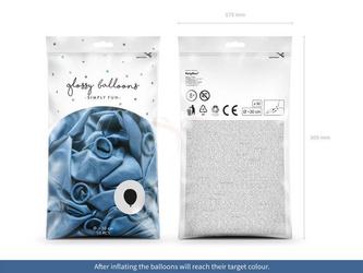 Balony Glossy 30 cm - niebieski - 50 szt.