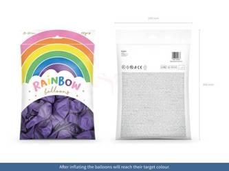 Balony Rainbow 23 cm metalizowane - fiolet - 100 szt.