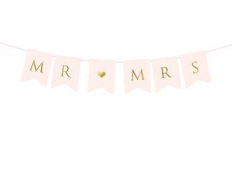 Baner Mr Mrs - 15 x 85 cm - jasnoróżowy