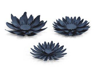 Dekoracje - papierowe Kwiaty - ciemnogranatowe - 3 szt.