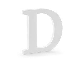 Drewniana litera D - 19,5 x 20 cm - biały