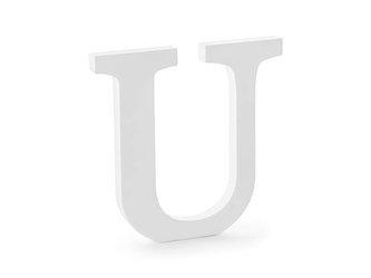 Drewniana litera U - 20,5 x 20 cm - biały