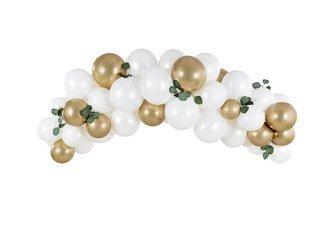 Girlanda balonowa - 200 cm - biało-złota - 60 szt.