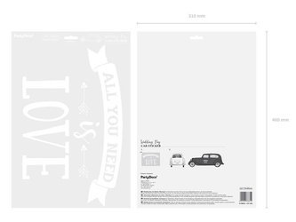 Naklejka ślubna na samochód - All you need is love - 33 x 45 cm