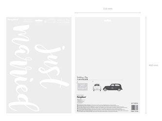 Naklejka ślubna na samochód - Just married - 33 x 45 cm
