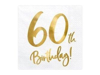 Serwetki 60th Birthday - 60 urodziny - białe - 33x33cm - 20 szt.