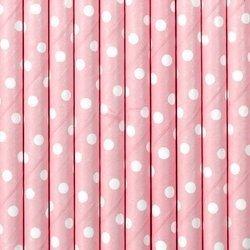 Słomki papierowe - jasnoróżowe - kropki - 19,5 cm - 10 szt.