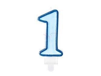 Świeczka urodzinowa Cyferka 1 - jeden - niebieska - 7 cm