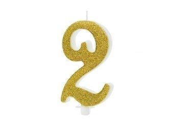 Świeczka urodzinowa Cyferka 2 - dwa - złota - 10 cm