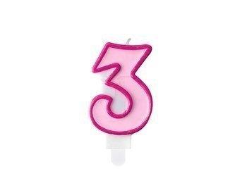 Świeczka urodzinowa Cyferka 3 - trzy - różowa - 7 cm