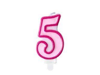 Świeczka urodzinowa Cyferka 5 - pięć - różowa - 7 cm