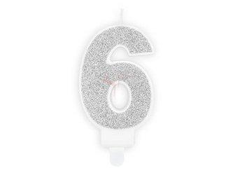 Świeczka urodzinowa Cyferka 6 - sześć - srebrna - 7 cm