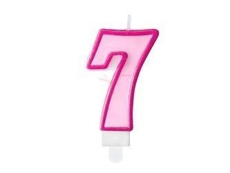 Świeczka urodzinowa Cyferka 7 - siedem - różowa - 7 cm