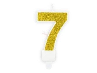 Świeczka urodzinowa Cyferka 7 - siedem - złota - 7 cm