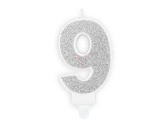 Świeczka urodzinowa Cyferka 9 - dziewięć - srebrna - 7 cm