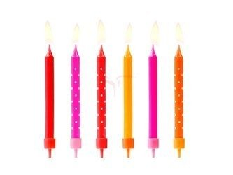 Świeczki urodzinowe Kolorowe mix - 6.5 cm - 6 szt.