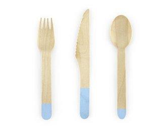 Sztućce drewniane - 16 cm - jasny niebieski