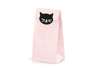 Torebki na słodycze Kotek - 8 x 18 x 6 cm - różowe - 6 szt.