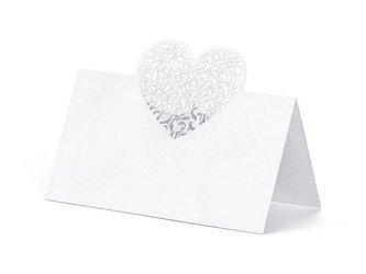 Wizytówki na stół Serce, 9 x 6,5 cm - 10 szt.