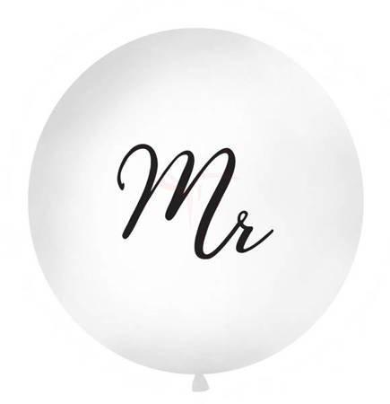 Balon 1m - Mr - biały - czarny napis