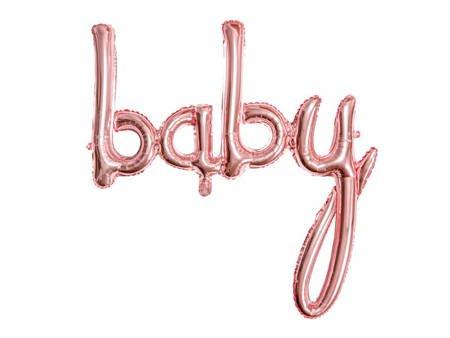 Balon foliowy Baby - 73,5 x 75,5 cm - różowe złoto