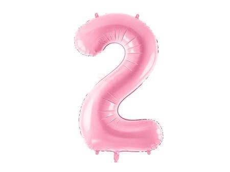 """Balon foliowy Cyfra """"2"""" dwa - 86 cm - różowy"""