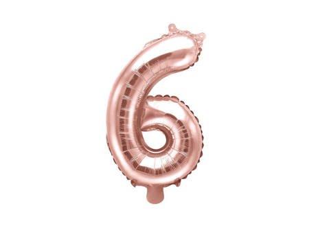 """Balon foliowy Cyfra """"6"""" sześć - 35 cm - różowe złoto"""
