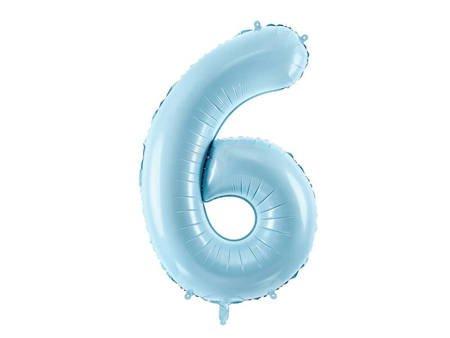 """Balon foliowy Cyfra """"6"""" sześć - 86 cm - jasny niebieski"""