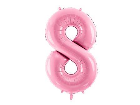 """Balon foliowy Cyfra """"8"""" osiem - 86 cm - różowy"""
