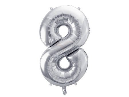 """Balon foliowy Cyfra """"8"""" osiem - 86 cm - srebrny"""