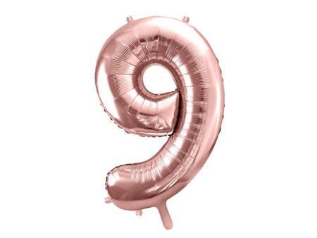"""Balon foliowy Cyfra """"9"""" dziewięć - 86 cm - różowe złoto"""
