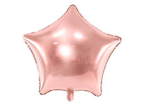 Balon foliowy Gwiazdka - 70 cm - różowe złoto