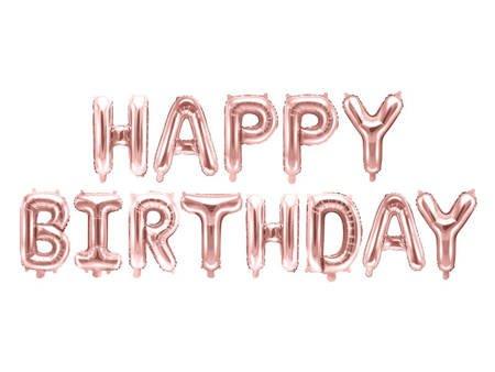 Balon foliowy Happy Birthday - 340 x 35 cm - różowe złoto