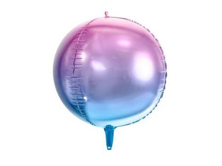 Balon foliowy Kula ombre - 35 cm - fioletowo-niebieski