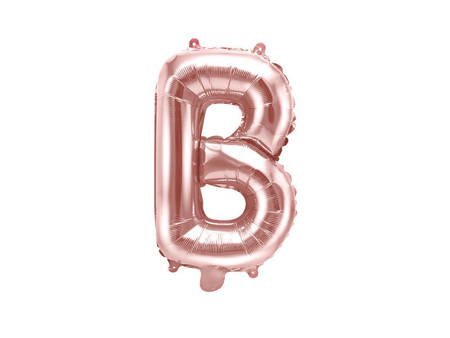 """Balon foliowy Litera """"B"""" - 35 cm - różowe złoto"""