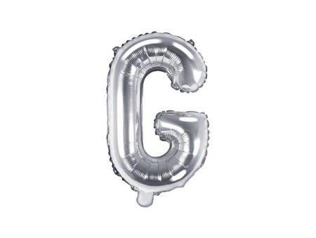 """Balon foliowy Litera """"G"""" - 35 cm - srebrny"""